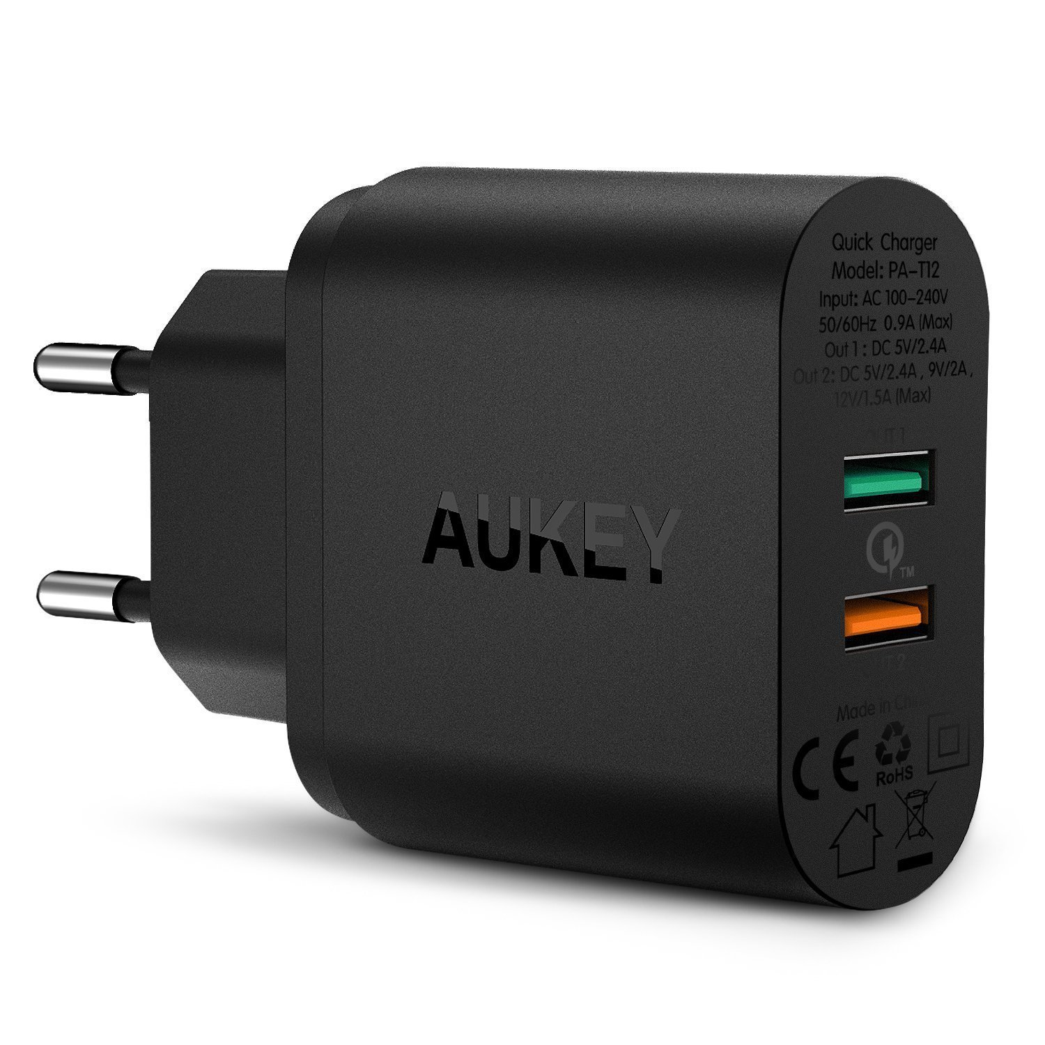 PA-T12  Dual Port Wall Charger with Quick Charge 2.0