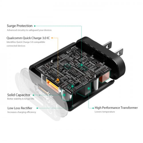 500291 - PA-T9 CHARGER 1 PORT 18W QC 3.0