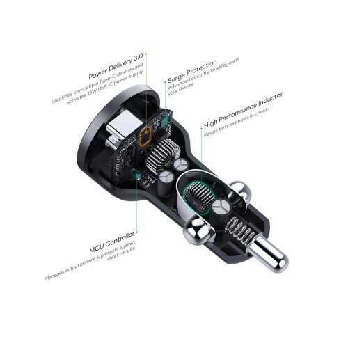 500370 - CC-Y13 Car Charger Type-C  Power Delivery 2.0 45w