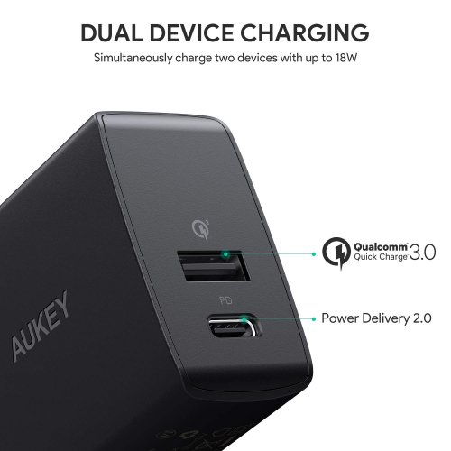 500335 - PA-Y17 Charger 2 Ports 18W PD 2.0 & QC 3.0